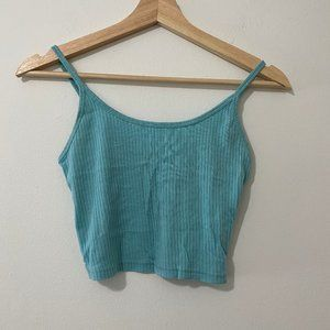 TOPSHOP Ribbed Blue Crop Top